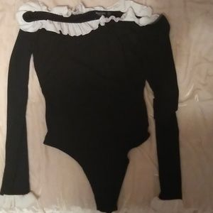 Nasty Gal Black Off the Shoulder Bodysuit w/ Frill